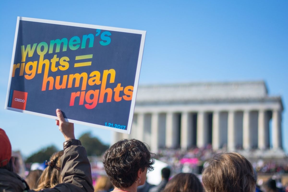 Woman's rights protest at the Lincoln Memorial